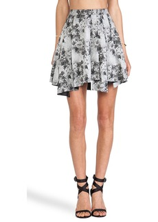 Robert Rodriguez Floral Flare Skirt in Gray