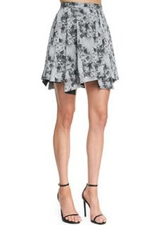 Robert Rodriguez Floral Pleated Cotton Skirt