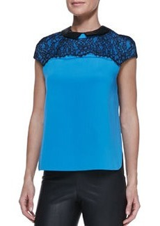 Robert Rodriguez Lace-Top Leather-Collar Blouse
