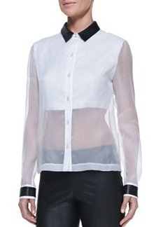 Robert Rodriguez Leather-Collar Sheer/Solid Organza Blouse