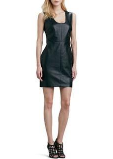 Robert Rodriguez Leather-Front Sleeveless Dress