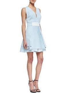 Robert Rodriguez Neoprene V-Neck Flounce Dress