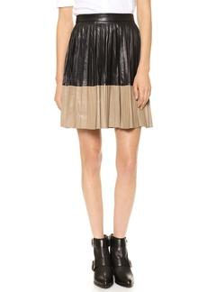 Robert Rodriguez Pleated Leather Skirt