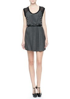 Robert Rodriguez Sheer-Top Striped Dress