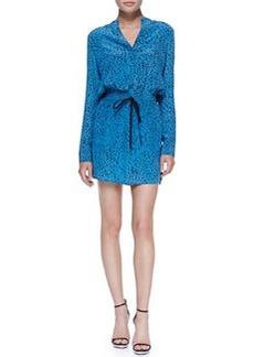 Robert Rodriguez Silk Chalk-Print Tie-Waist Long-Sleeve Dress