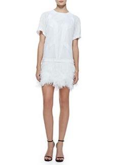 Robert Rodriguez Tribal Silk/Jersey Combo Ostrich Feather Dress