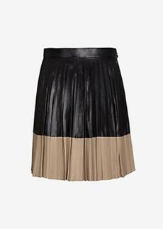 Robert Rodriguez Two Tone Pleated Leather Mini Skirt