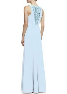 Robert Rodriguez Vertebrae B Woven-Panel Sleeveless Gown
