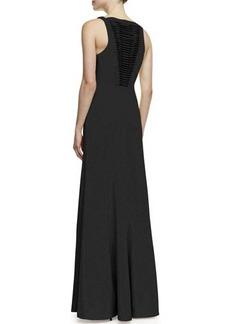Robert Rodriguez Vertebrae B Woven-Panel Sleeveless Gown, Black
