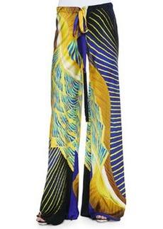 Abstract-Print Tassel-Drawstring Palazzo Pants, Yellow/Blue   Abstract-Print Tassel-Drawstring Palazzo Pants, Yellow/Blue
