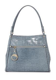 Class Roberto Cavalli Anais Medium Croc-Embossed Leather Tote Bag, Avio Blue