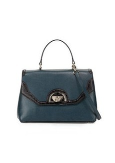 Class Roberto Cavalli Coco Medium Leather Satchel Bag, Dark Green