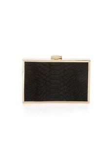 Class Roberto Cavalli Constance Calf-Hair Box Clutch Bag, Black