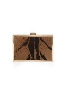 Class Roberto Cavalli Constance Calf-Hair Box Clutch Bag, Gray/Black