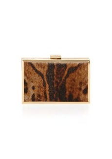 Class Roberto Cavalli Constance Calf-Hair Box Clutch Bag, Taupe/Brown