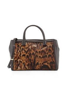 Class Roberto Cavalli Constance Fur-Trim Leather Satchel Bag, Taupe/Brown