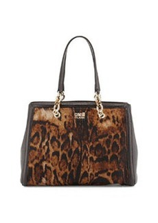 Class Roberto Cavalli Constance Fur-Trim Leather Tote Bag, Taupe/Brown
