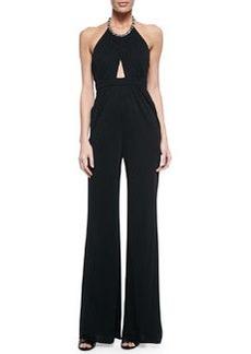 Cutout Jeweled Halter Jumpsuit, Black   Cutout Jeweled Halter Jumpsuit, Black
