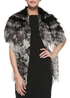 Floral Cashmere & Fox Fur Stole   Floral Cashmere & Fox Fur Stole