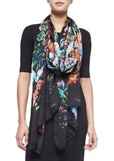 Floral/Butterfly Printed Lightweight Silk Scarf   Floral/Butterfly Printed Lightweight Silk Scarf
