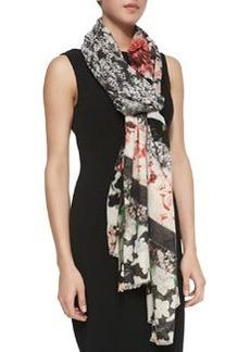 Floral/Lace Patchwork Scarf, Black/Coral   Floral/Lace Patchwork Scarf, Black/Coral