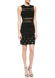 Grommet-Detailed Open-Knit Bandage Dress, Black   Grommet-Detailed Open-Knit Bandage Dress, Black
