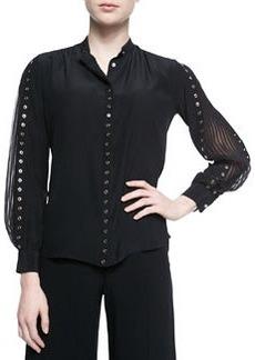 Grommet Studded Accordion-Sleeve Blouse, Black   Grommet Studded Accordion-Sleeve Blouse, Black