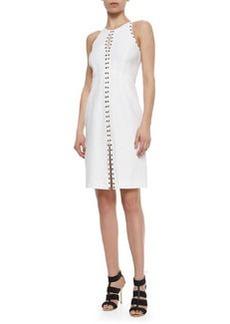 Grommet-Trimmed Keyhole Dress, White   Grommet-Trimmed Keyhole Dress, White