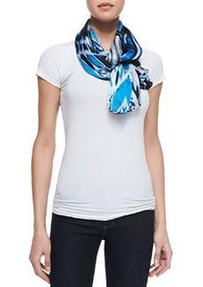 Ikat Printed Silk Satin Scarf, Cobalt/Multi   Ikat Printed Silk Satin Scarf, Cobalt/Multi