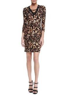 Lace-Up Tortoise-Print Sheath Dress   Lace-Up Tortoise-Print Sheath Dress