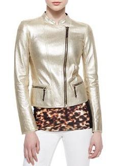 Metallic Laminated Leather Moto Jacket, Light gold   Metallic Laminated Leather Moto Jacket, Light gold