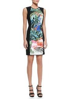 Mustique-Print Jewel-Neck Sheath Dress, Black   Mustique-Print Jewel-Neck Sheath Dress, Black