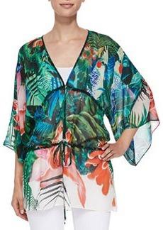 Mustique-Print Tie-Waist Kimono Top   Mustique-Print Tie-Waist Kimono Top