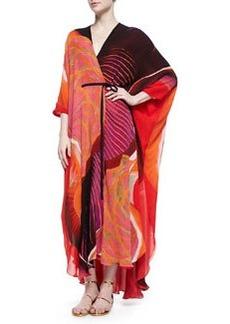 Nika Mixed-Print Charmeuse Caftan, Orange/Red   Nika Mixed-Print Charmeuse Caftan, Orange/Red