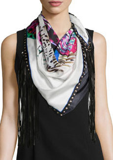 Printed Scarf w/Leather Fringe, Nero   Printed Scarf w/Leather Fringe, Nero