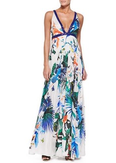 Roberto Cavalli Alize-Print Beaded Open-Back Gown, Blue/White