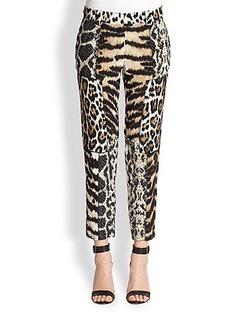 Roberto Cavalli Animal-Print Patchwork Silk Pants