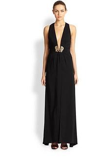 Roberto Cavalli Deep V-Neck Cady Gown