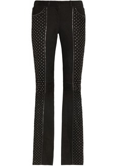 Roberto Cavalli Embellished suede flared pants