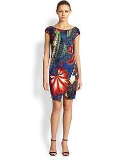 Roberto Cavalli Floral Cap Sleeve Dress