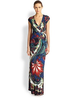 Roberto Cavalli Floral Crossover Gown