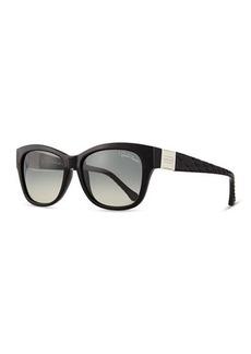 Roberto Cavalli Injected Butterfly Sunglasses w/ Diamond-Cut Detail, Shiny Black