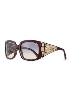 Roberto Cavalli Injected Square Sunglasses w/ Laser-Cut Detail, Bordeaux