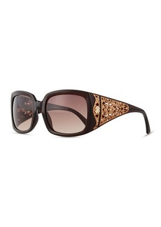 Roberto Cavalli Injected Square Sunglasses w/ Laser-Cut Detail, Dark Brown