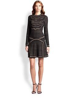 Roberto Cavalli Jacquard Knit Flared Dress