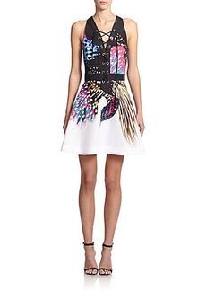 Roberto Cavalli Lace-Up A-Line Dress