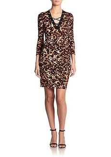 Roberto Cavalli Lace-Up Tortoiseshell-Print Sheath