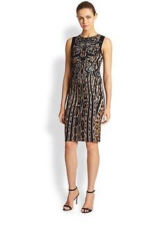 Roberto Cavalli Leopard Mixed-Print Sheath Dress