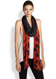 Roberto Cavalli Leopard Printed Silk Scarf