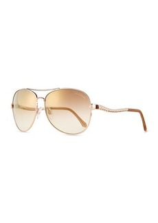 Roberto Cavalli Metal Aviator Sunglasses, Brown/Gold